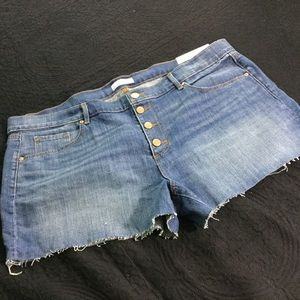 Loft button fly raw edge shorts